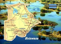 Botswana Country Map New Postcard Landkarte AK - Botswana