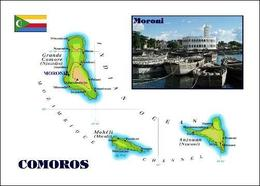 Comoros Islands Map Comores New Postcard - Komoren