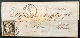 Lettre 1849 /1850 Céres N°3 20c Noir/blanc Oblitéré Grille + Dateur Type 15 De Lagnieu (indice 16) Ain Signé Calves - 1849-1850 Ceres