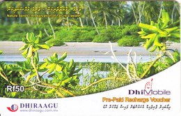 MALDIVES ISL. - Nature/Preservation Of Nature's Wealth, DHI Mobile By Dhiraagu Recharge Card Rf 50, Used - Maldives