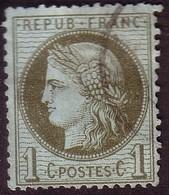 1872 – N°50 Oblitéré - Vert-olive - 1 C.- CERES DENTELE - 1871-1875 Ceres
