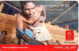 MALDIVES ISL. - Preserve Maldives Environment, Dhiraagu Recharge Card Rf 50, Used - Maldiven