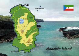 Equatorial Guinea Annobon Island Map New Postcard - Guinée Equatoriale