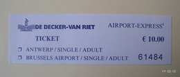 BELGIUM Airport Express Bus Tickets From Antwerp To Brussles Airport. 2 Used Tickets. - Bus
