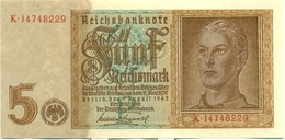 5 REICHSMARKS 1942 - [ 4] 1933-1945 : Third Reich