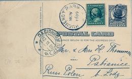 1909 , ESTADOS UNIDOS , ENTERO POSTAL CIRCULADO , HUGUENOT PARK - PABIANICE (POLONIA ) , LLEGADA - Ganzsachen