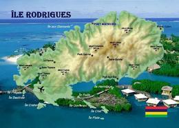 Mauritius Rodrigues Island Map New Postcard - Mauritius
