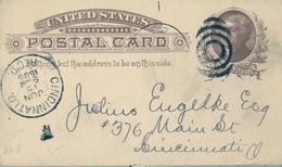 1886 , ESTADOS UNIDOS , ENTERO POSTAL CIRCULADO , CINCINNATI INTERIOR - ...-1900