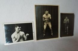 3 Anciennes Photos ( 2 ) Dédicacées Du Boxeur P. MORELON De 1938 / Photos En Situation De BOXE - Boxe