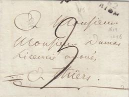 LETTRE. PUY-DE-DOME. 1803. 62/RIOM POUR PARIS   / 3 - 1801-1848: Vorläufer XIX