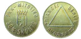02132 GETTONE TOKEN JETON  CLUB ENTRY TOKEN BERLIN TRIANGLE CLUB KU'DAMM 133 50% SKONTO - Allemagne