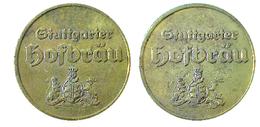 02091 GETTONE TOKEN JETON KANTINE BIRRA BIER HOFBRAU STUTTGARTEN - Allemagne