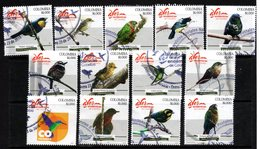 A211. KOLUMBIEN 2018. ENDEMIC BIRDS. COMPLETE USED SET X 13 STAMPS. - Colombia