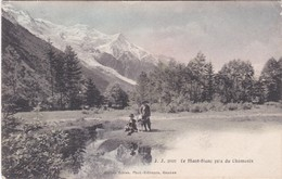 F74-113 LE MONT BLANC PRIS DE CHAMONIX - 2 ENFANTS ET 1 CHIEN - CIRCULE EN 1910 - Chamonix-Mont-Blanc