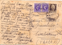 1939 Cartolina Da San Remo Per Castelvetrano (TP) Con Marche  023 - 1900-44 Vittorio Emanuele III