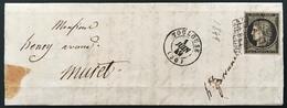 Lettre 1849 /1850 Céres N°3 20c Noir/teinté Oblitéré Grille + Dateur Type 15 De Toulouse 1 Juin 1849 - 1849-1850 Ceres