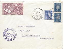 PARIS RUE Timbre 70c Pétain (N° 510) X 2 + 10c Mercure (N°407) Tarif 1.50F Vignette Foire De Paris 1942 Erinophilie - 1941-42 Pétain