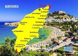 Rhodes Island Map Greece New Postcard - Grèce