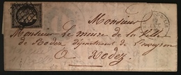 Lettre 1849 /1850 Céres N°3 20c Noir/teinté Oblitéré Grille + Dateur De Mareuil S/belle - 1849-1850 Ceres