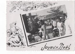 JOYEUX NOEL - CARTE PHOTO N/B DENTELEE DU VIET-NAM - EN MEDAILLON PERSONNAGES  - VOYAGEE EN 1951 - Weihnachten