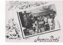 JOYEUX NOEL - CARTE PHOTO N/B DENTELEE DU VIET-NAM - EN MEDAILLON PERSONNAGES  - VOYAGEE EN 1951 - Noël