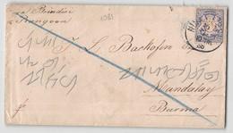 8836 01 DEUTSCHLAND Via BRINDISI To RANGOON MANDALAY BURMA - YEAR 1886 - Briefe U. Dokumente