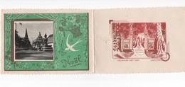 NOËL -  CARTE PHOTO DOUBLE N/B DENTELEE D'INDOCHINE VIET-NAM - EN MÉDAILLON TEMPLE  - VOYAGEE EN 1953 - Xmas