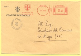 ITALIA - ITALY - ITALIE - 2002 - 00,41 EMA, Red Cancel - Comune Di Firenze - Viaggiata Da Firenze Per Lugo - Affrancature Meccaniche Rosse (EMA)