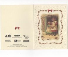 WITH BEST WISHES FOR CHRISTMAS AND THE NEW YEAR -  CARTE DOUBLE - COULEUR - ENFANTS SUR LE SEUIL   - VOYAGEE EN 1995 - Noël