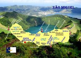 Sao Miguel Island Map Azores Islands Portugal New Postcard - Açores