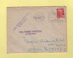 Provins Destination BPM518A - Griffe En Arrivee 2/32e Regiment D Artillerie - 1951 - Marianne De Gandon - 1921-1960: Modern Period