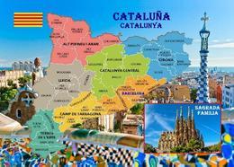 Catalonia Map Spain Cataluña New Postcard Katalonien Landkarte AK - Vari