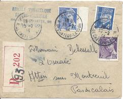 PARIS 202 CHATEAU LANDON 1944 RECOMMANDE Timbres Pétain 4F N°521A + Mercure 10C N°546 Et 40c N°548 Tarif 4.50F - Bolli Manuali