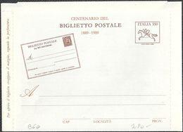 """BIGLIETTO POSTALE CENTENARIO DEL BIGLIETTO POSTALE  1889 1989 L. 550 - 1989 - CATALOGO FILAGRANO """"B60"""" - NUOVO - 6. 1946-.. Repubblica"""