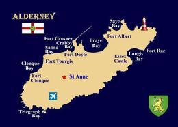 Alderney Island Map Channel Islands New Postcard - Alderney