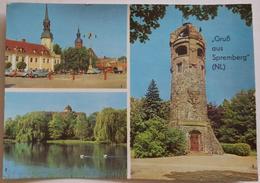 Gruss Aus SPREMBERG - DDR - Multiview - Marktplatz, Schwanenteich Am Schloss, Georgenbergturm  Vg G2 - Spremberg
