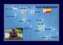 Marquesas Islands Map French Polynesia New Postcard - Polynésie Française