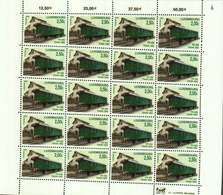 Luxembourg Feuille De 20 Timbres à 2,50 Euros Chemins De Fer D'antan Waggon PH 408 Train1900  2005 - Full Sheets