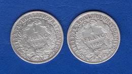 France  2  Pieces  Arg  1894 +1895 - H. 1 Franc