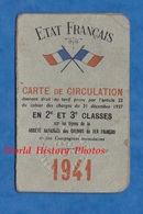 Carte De Circulation Chemin De Fer - 1941 - Etat Français - 2e & 3e Classe - Edouard Duphénieux - Transporttickets