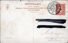 Netherlands, Grootrond Postmark Schoondijke, 21 MEI 09, To Antwerp Belgium, Picture Postcard - Periode 1891-1948 (Wilhelmina)