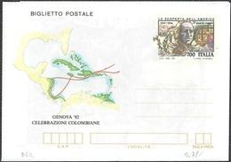 """BIGLIETTO POSTALE GENOVA '92 CELEBRAZIONI COLOMBIANE L. 700 - 1992 - CATALOGO FILAGRANO """"B62"""" - NUOVO ** - 6. 1946-.. Repubblica"""