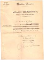 MEDAILLE COMMEMORATIVE DE LA CAMPAGNE DE 1870.71-MINISTERE DE LA GUERRE  PARIS 1931 - Documenten