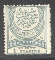 1 Piastre  Vertgris Sur Jaunâtre  MiNr 61bA  Dent 13¼  * - 1858-1921 Empire Ottoman