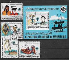 MAURITANIA    1982   75° ANNIVERSARIO SCOUTS   YVERT 496-499+BF.34   USATA   XF - Mauritania (1960-...)
