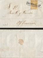 J) 1837 MEXICO, UN REAL ORANGE, BLACK CANCELLATION, HIDALGO, CIRCULATED COVER, FROM PUEBLA TO VERACRUZ - Mexico