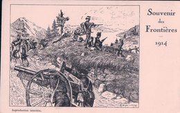 Guerre 14-18, Armée Suisse, Canon Et Cavalerie, Souvenir Des Frontières, Litho, E. Guye Caporal (1914) - Guerre 1914-18