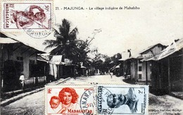 RRR! MADAGASCAR MAJUNGA  - Le Village Indig'ene De Mahabibo, Alte Seltene Karte Mit 50 C+2+5 F Sondermarke, Gel.v. ... - Madagaskar