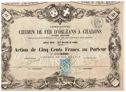 Action Ancienne - Compagnie Des Chemins De Fer D'Orléans à Chalons - Titre De 1870 - VF - N°4323 - Déco - Chemin De Fer & Tramway