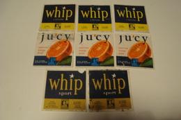 Kuifje : Lotje Van 8 Etiketten Limonade Whip En Ju'cy American Orange Drink Met Kuifjespunten-Timbres Tintin - Kuifje
